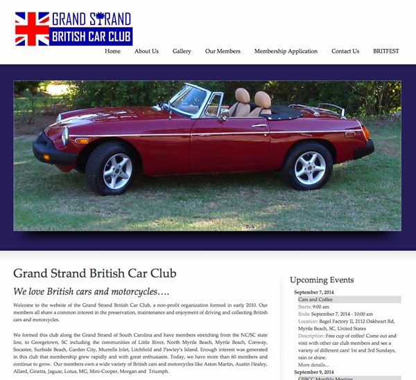Grand Strand British Car Club Website